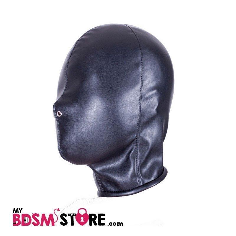 Capucha de cuero sintético para privación sensorial bondage, bdsm, fetish negra
