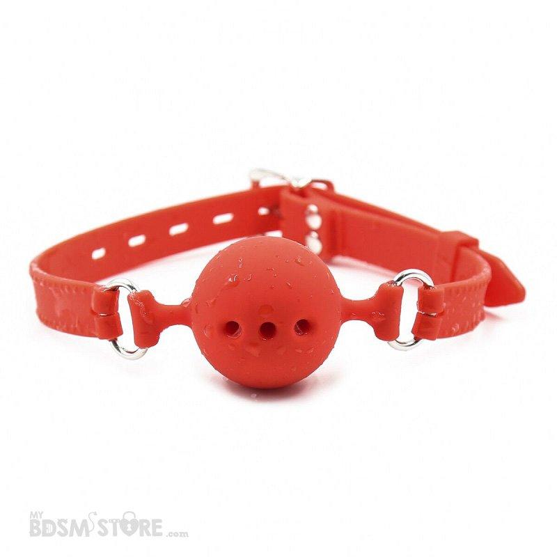 Mordaza de Bola de Silicona con Agujeros Ajustable BDSM Fetish Gagball bondage Roja