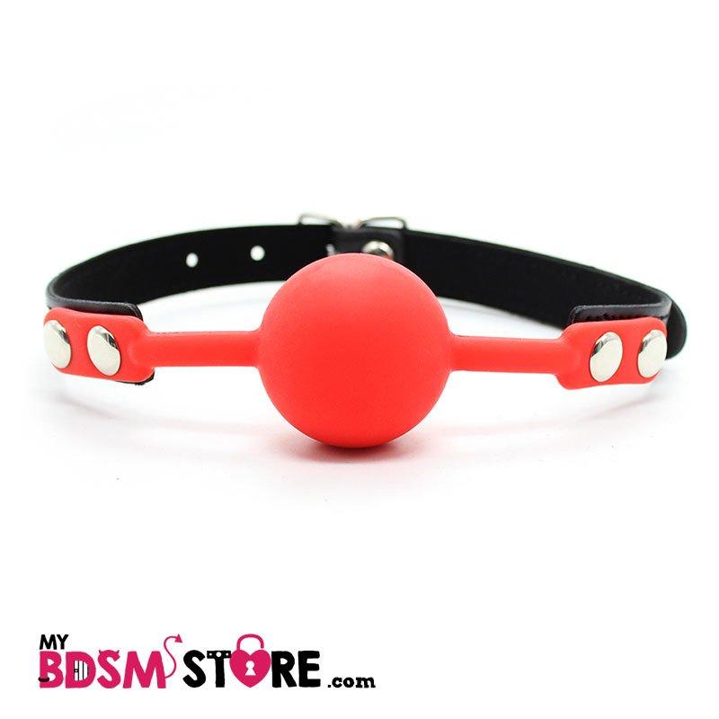 Mordaza de bola de silicona en negro, rojo y morado