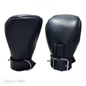 Bondage-mittens,-mitones-de-cuero-sintetico