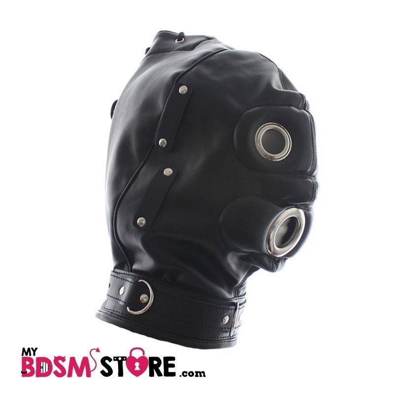 Mascara de privación sensorial con mordaza de panel forma de pene ( penis panel gag) para bdsm y fetish