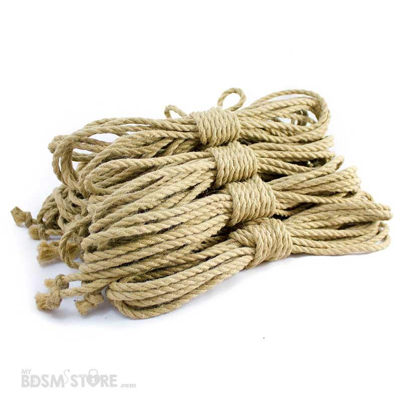 Juego de 10 Cuerdas de yute para Shibari y Kinbaku con trenzado de alta calidad y resistencia de 8 metros y 6mm. Tan fluidas que volarán en tus manos.