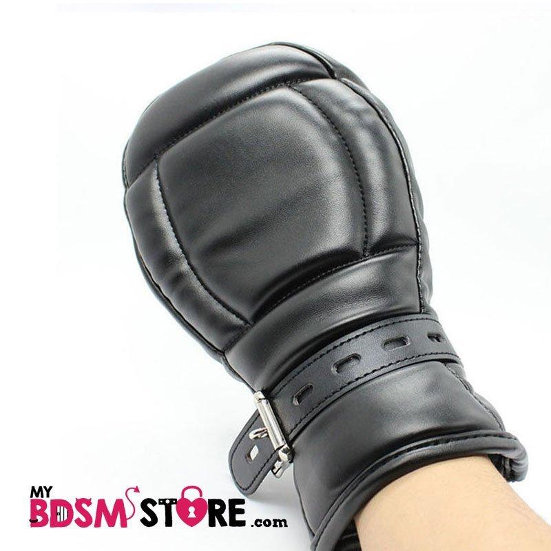 Mitones de cuero sintetico, restricción para bondage y bdsm - mittens negros
