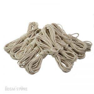 Set de 10 Cuerdas de Yute o jute para Shibari y Kinbaku de 5mm y 6mm bondage color blanco para teñir rope