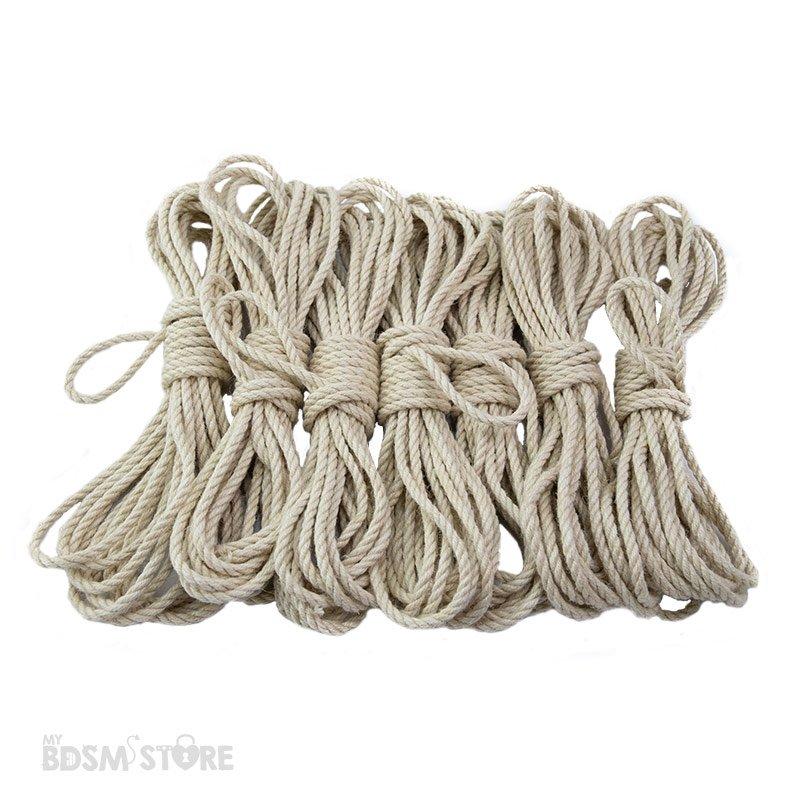 Set de 7 Cuerdas de Yute o jute para Shibari y Kinbaku de 5mm y 6mm bondage color blanco para teñir