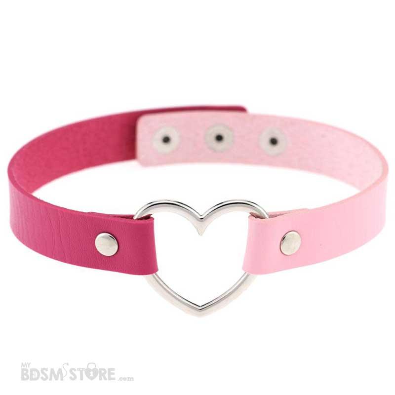 Collar de corazón bicolor rosa intenso y rosa