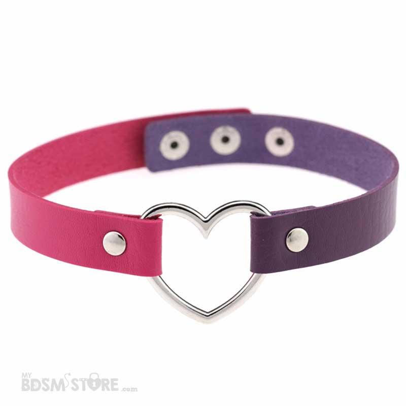 Collar de corazón bicolor rosa y morado