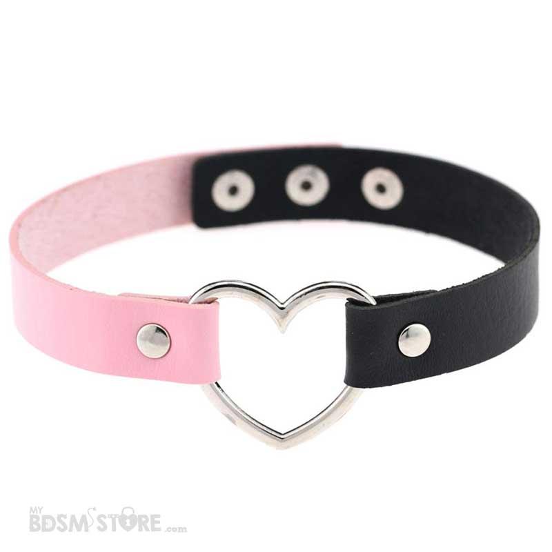 Collar de corazón bicolor rosa y negro