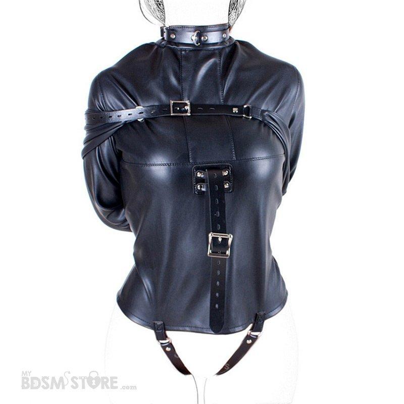 Camisa de Fuerza de Cuero sintético fetish para Bondage y BDSM, Straitjacket