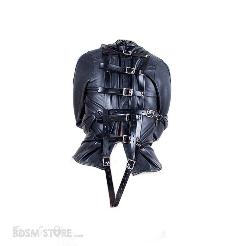 Camisa de Fuerza de Cuero sintético espalda fetish para Bondage y BDSM, Straitjacket