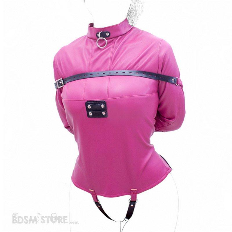 Camisa de fuerza de cuero sintético para bondage y bdsm rosa cierre trasero