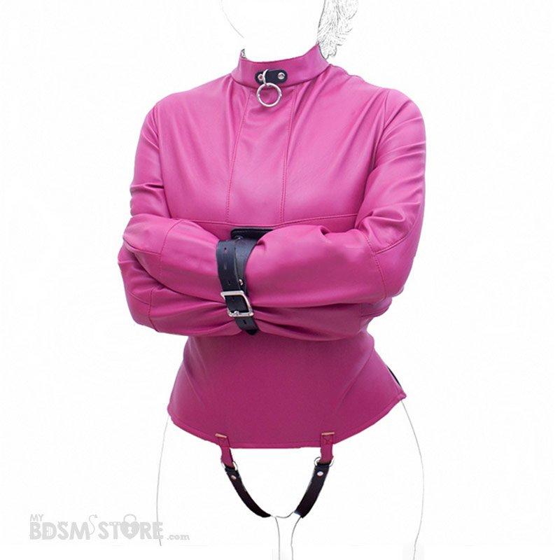 Camisa de fuerza de cuero sintético para bondage y bdsm rosa