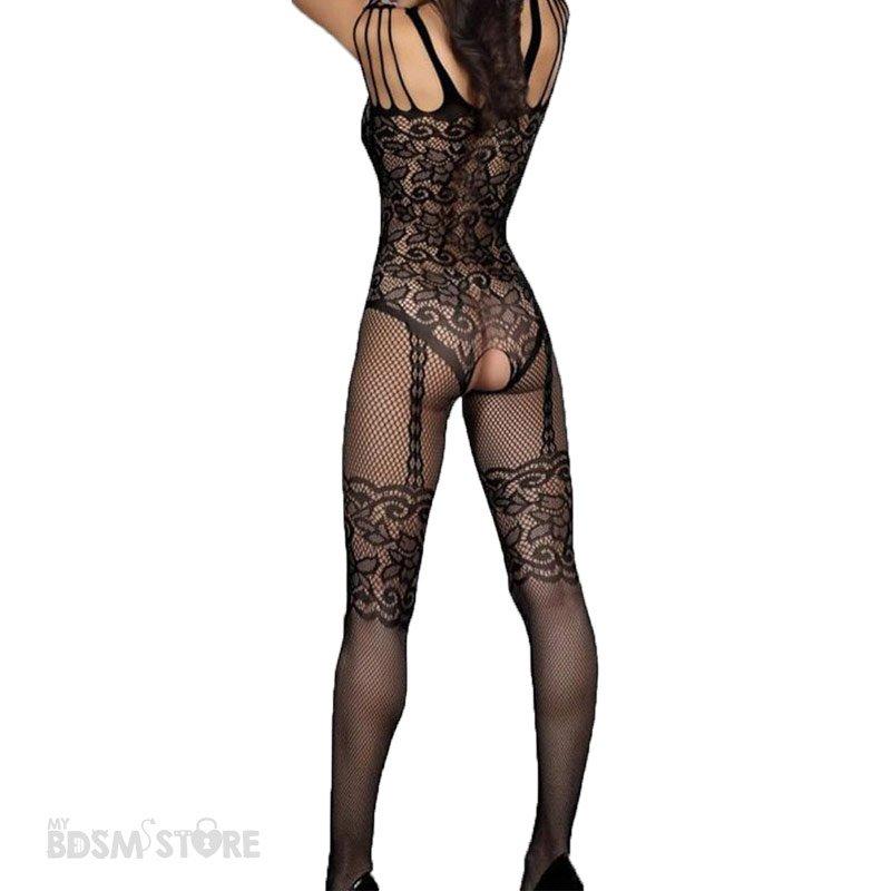 Body de rejilla sexy con encajes para juegos eróticos y bdsm sugerente y sexy espalda