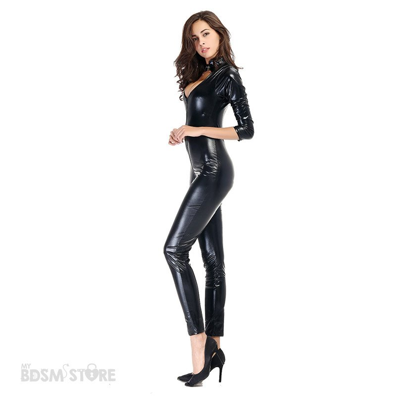 Catsuit de Lycra Brillante con escote y doble cremallera fetish bdsm escorzo lateral