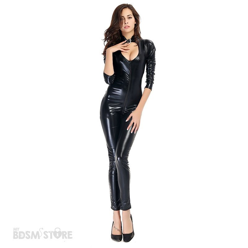 Catsuit de Lycra Brillante con escote y doble cremallera fetish bdsm frontal modelo