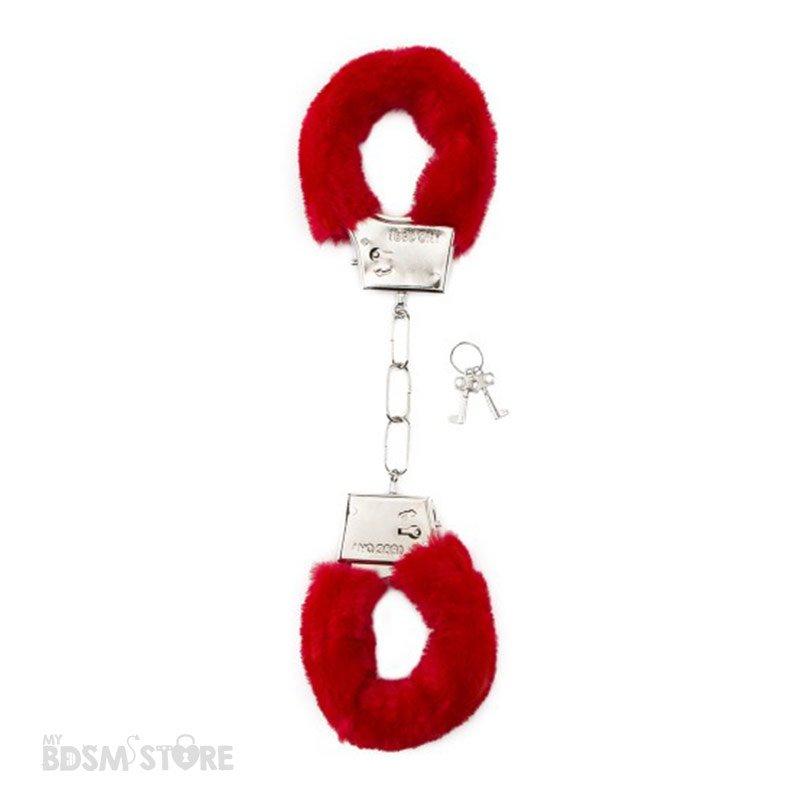 Esposas suaves de terciopelo para juegos eróticos, de bondage y bdsm de metal rojas
