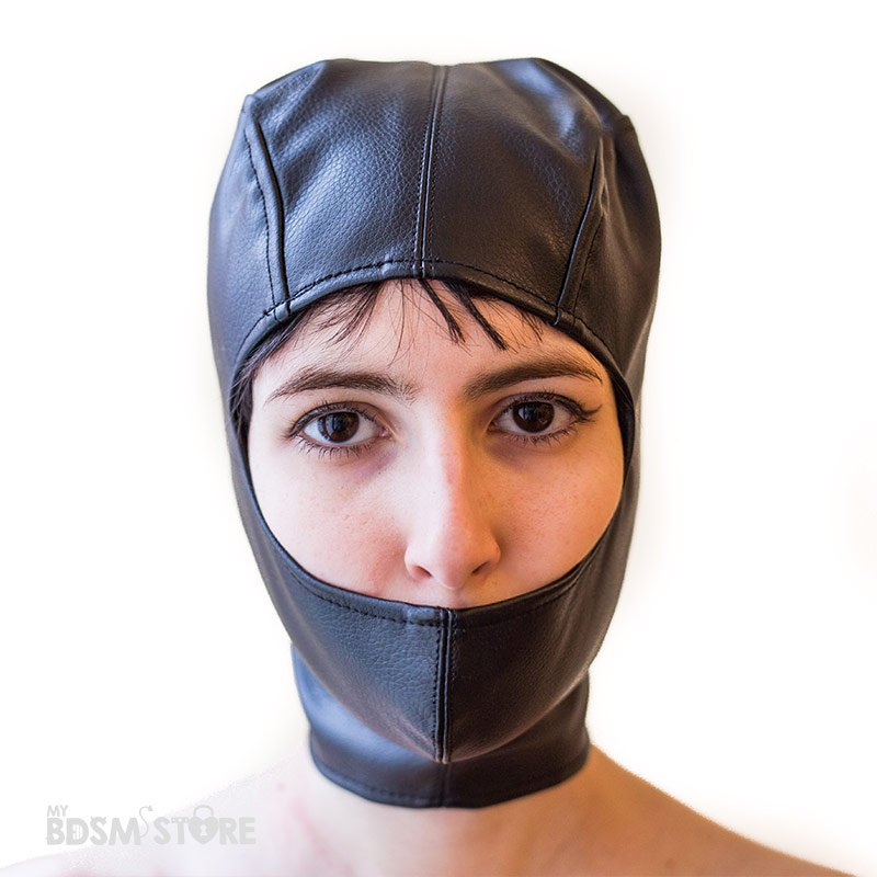 Capucha boca tapada con corset de apretado para fetish, bondage, bdsm y privacion sensorial frontal