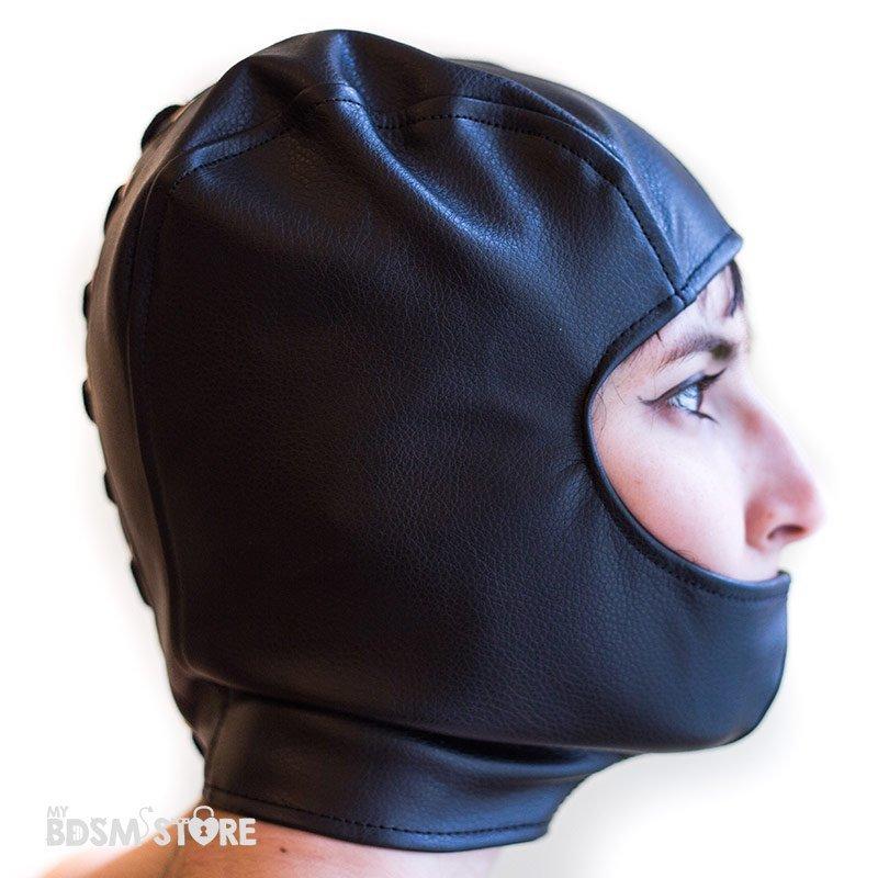 Capucha boca tapada con corset de apretado para fetish, bondage, bdsm y privacion sensorial lateral