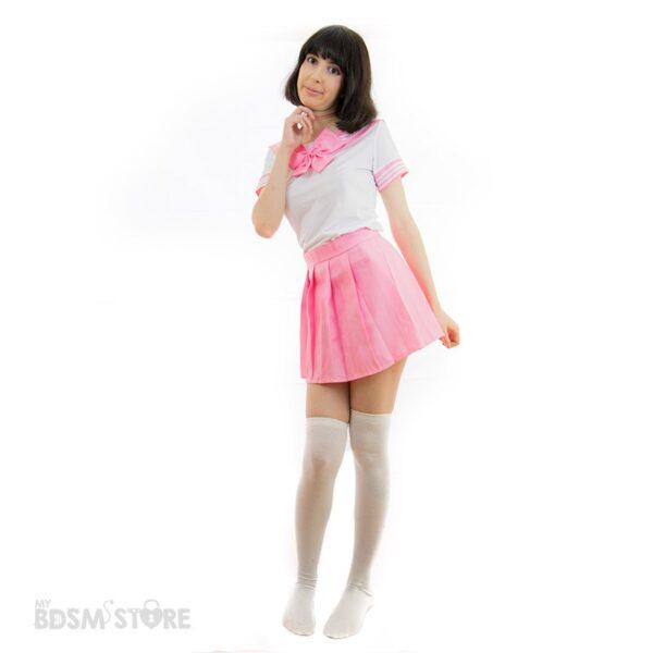Uniforme de colegiala Seifuku kawaii rosa sexy bdsm role play juegos de rol lolita, japonesa cuqui cute adorable detalle pose