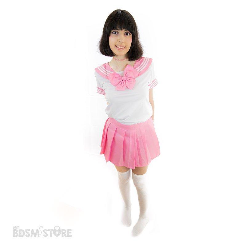 Uniforme de colegiala Seifuku kawaii rosa sexy bdsm role play juegos de rol lolita, japonesa cuqui cute cenital