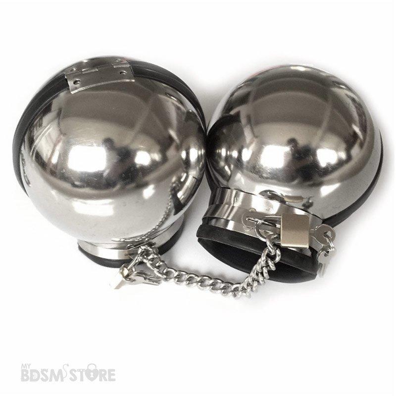 Bolas de Acero Mitones Metálicos para juegos de bondage fetish restricciones abiertas candado y cadena