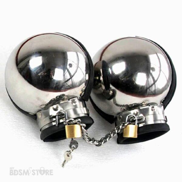 Mitones bolas de acero para juegos de bondage fetish restricciones cerradas candado y cadena