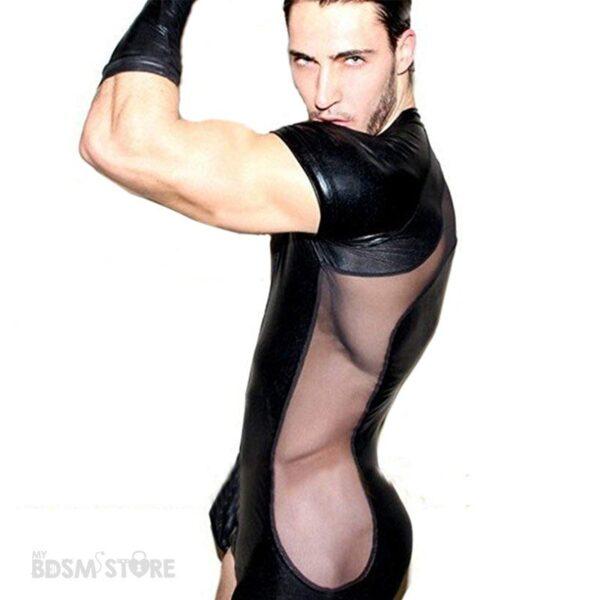 Camiseta Body Fetish de lycra con rejilla lateral gay para juegos BDSM clubwear eventos y sesiones modelo