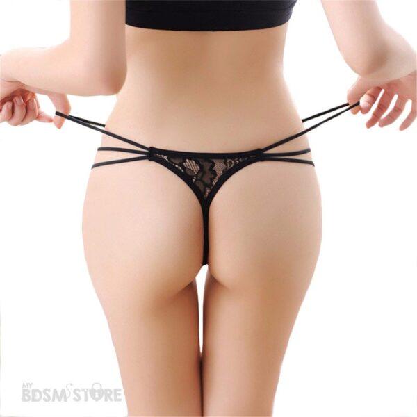 Tanga sexy de encaje con triple tira de cadera fetish lencería
